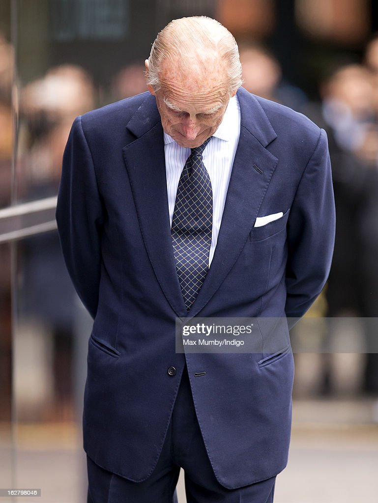 <a gi-track='captionPersonalityLinkClicked' href=/galleries/search?phrase=Prince+Philip&family=editorial&specificpeople=92394 ng-click='$event.stopPropagation()'>Prince Philip</a>, Duke of Edinburgh accompanies Queen Elizabeth II to the opening of the new National Centre for Bowel Research and Surgical Innovation at Queen Mary, University of London on February 27, 2013 in London, England.