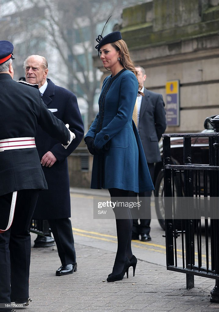 Prince Philip, Duke of Edinburgh and Catherine, Duchess of Cambridge makes an official visit to Baker Street Underground Station on March 20, 2013 in London, England.
