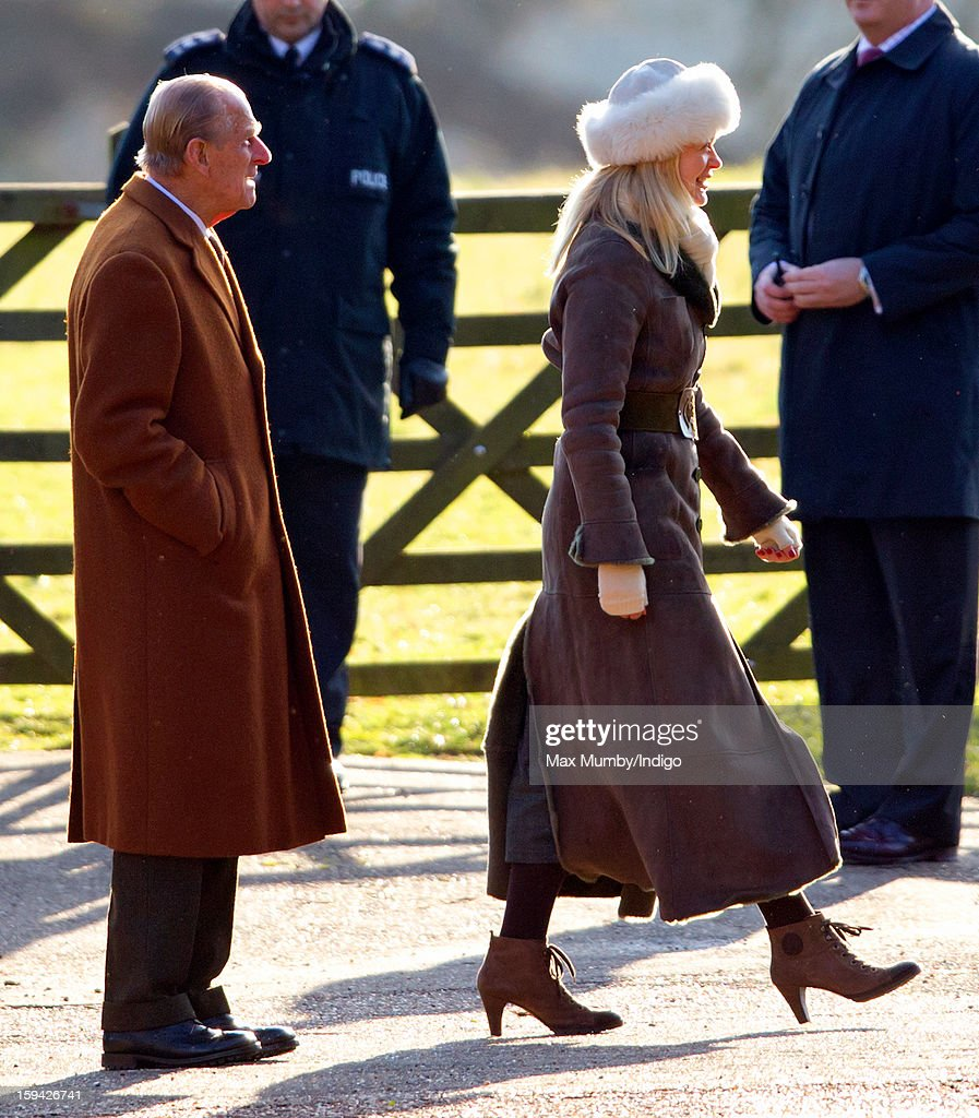 Prince Philip, Duke of Edinburgh and Lady Helen Taylor arrive at St. Mary Magdalene Church, Sandringham to attend Sunday service along with Queen Elizabeth II on January 13, 2012 near King's Lynn, England.