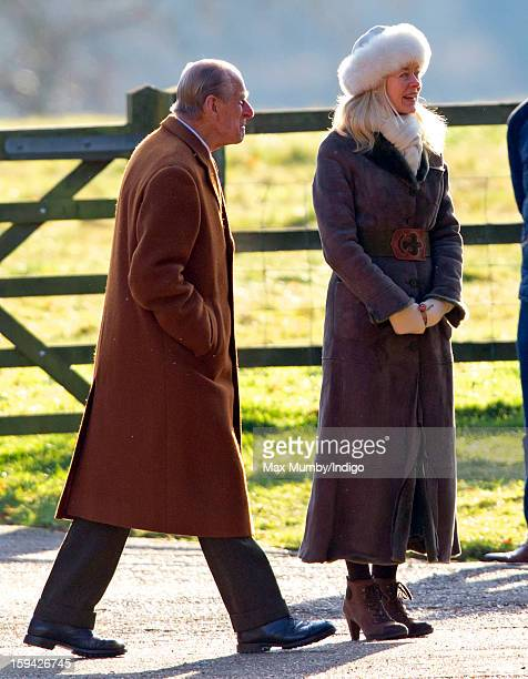 Prince Philip Duke of Edinburgh and Lady Helen Taylor arrive at St Mary Magdalene Church Sandringham to attend Sunday service along with Queen...