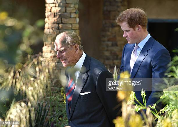 Prince Philip Duke of Edinburgh and Price Harry attend the annual Chelsea Flower show at Royal Hospital Chelsea on May 18 2015 in London England