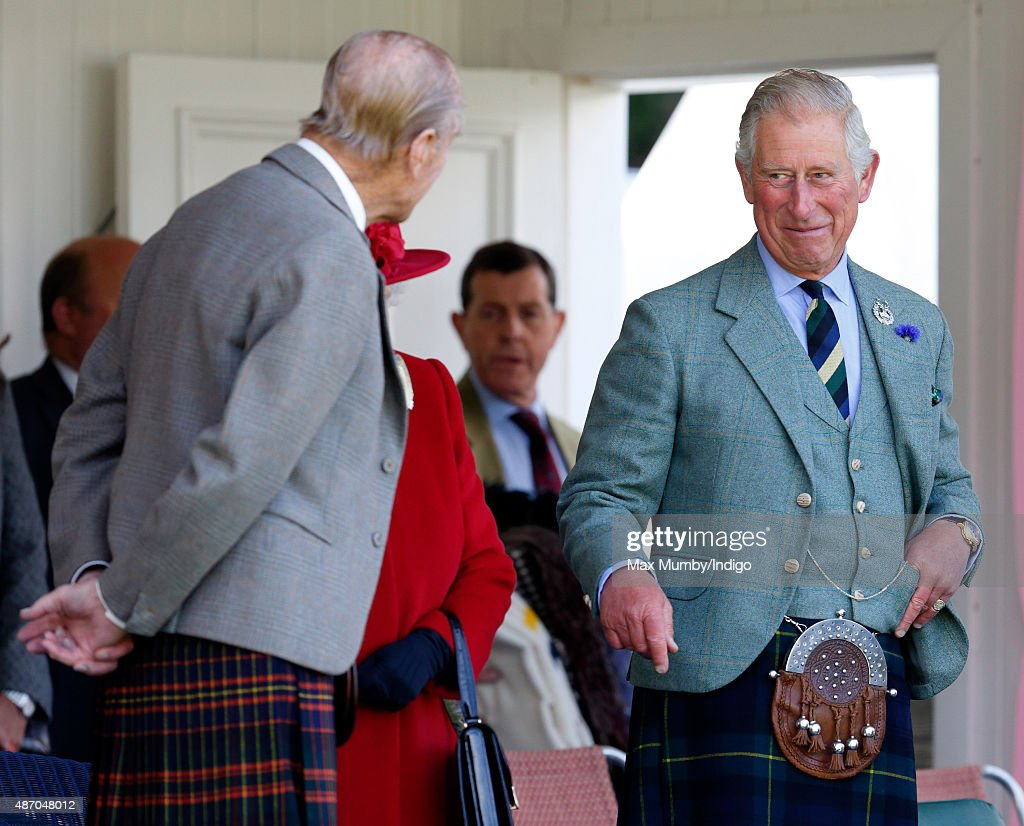 Prince Philip, Duke of Edinburgh and Prince Charles, Prince of Wales attend the Braemar Gathering at The Princess Royal and Duke of Fife Memorial Park on September 5, 2015 in Braemar, Scotland. There has been an annual gathering at Braemar, in the heart of the Cairngorms National Park, for over 900 years. The current gathering, in the form of a Highland Games and run by the Braemar Royal Highland Society (BRHS), takes place on the first Saturday in September and sees competitors in Running, Heavy Weights, Solo Piping, Light Field and Solo Dance watched by around 16000 spectators. This year the BRHS commemorate their bi-centenary. Members of the Royal family often attend the event and Her Majesty the Queen is Chieftain of the Braemar Gathering.