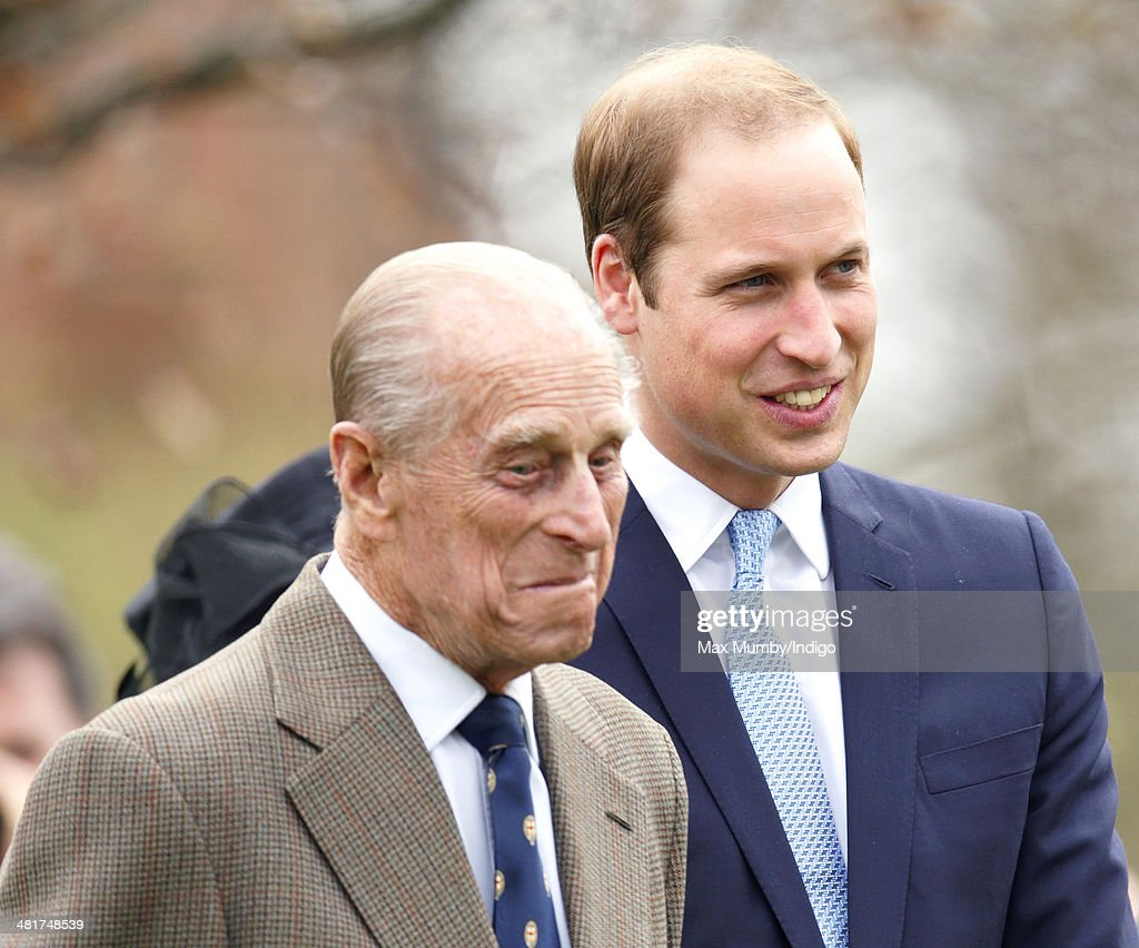 <a gi-track='captionPersonalityLinkClicked' href=/galleries/search?phrase=Prince+Philip&family=editorial&specificpeople=92394 ng-click='$event.stopPropagation()'>Prince Philip</a>, Duke of Edinburgh and <a gi-track='captionPersonalityLinkClicked' href=/galleries/search?phrase=Prince+William&family=editorial&specificpeople=178205 ng-click='$event.stopPropagation()'>Prince William</a>, Duke of Cambridge attend the Windsor Greys Statue unveiling on March 31, 2014 in Windsor, England. The statue marks 60 years of The Queen's Coronation in 2013 and the important role played by Windsor Greys in the ceremonial life of the Royal Family and the Nation.