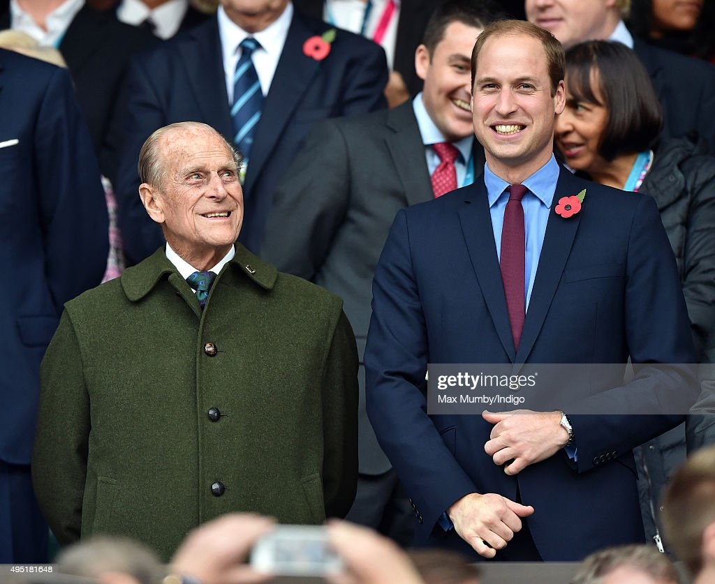 Prince Philip, Duke of Edinburgh and Prince William, Duke of Cambridge attend the 2015 Rugby World Cup Final match between New Zealand and Australia at Twickenham Stadium on October 31, 2015 in London, England.