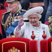 P Prince Philip Duke of Edinburgh and Queen Elizabeth II aboard the Spirit of Chartwell during the Diamond Jubilee Thames River Pageant on June 3...