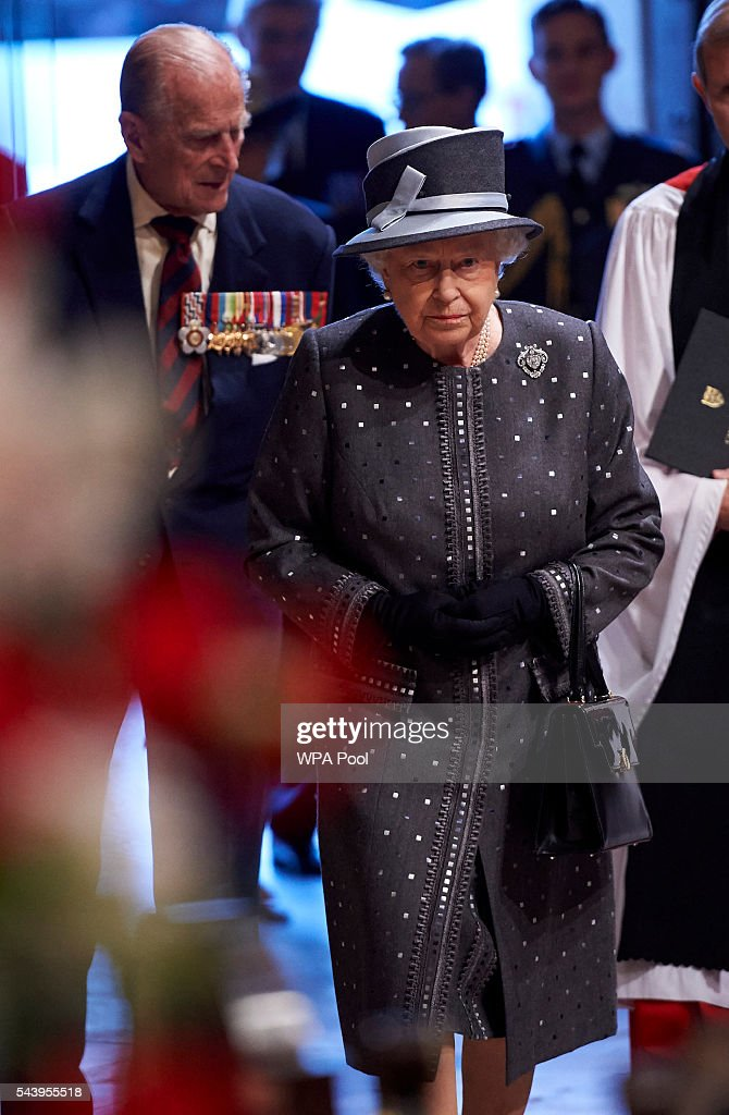 <a gi-track='captionPersonalityLinkClicked' href=/galleries/search?phrase=Prince+Philip&family=editorial&specificpeople=92394 ng-click='$event.stopPropagation()'>Prince Philip</a>, Duke of Edinburgh and Queen <a gi-track='captionPersonalityLinkClicked' href=/galleries/search?phrase=Elizabeth+II&family=editorial&specificpeople=67226 ng-click='$event.stopPropagation()'>Elizabeth II</a> arrive to attend a Service on the Eve of the Centenary of the Battle of the Somme at Westminster Abbey on June 30, 2016 in London, United Kingdom.