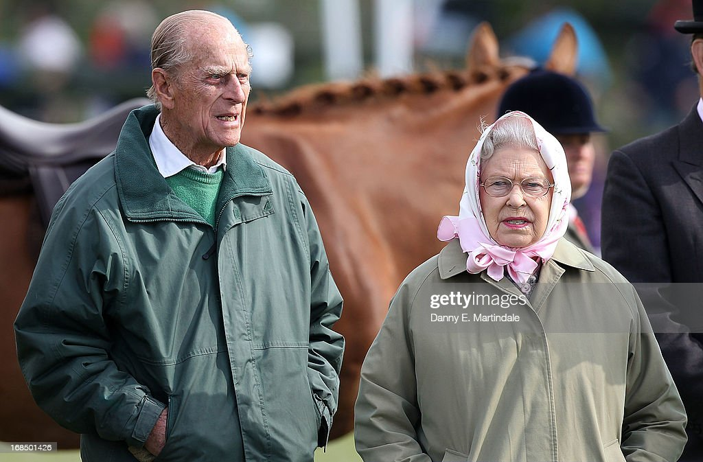 Prince Philip, Duke of Edinburgh and Queen Elizabeth II attend day 3 of the Royal Windsor Horse Show on May 10, 2013 in Windsor, England.