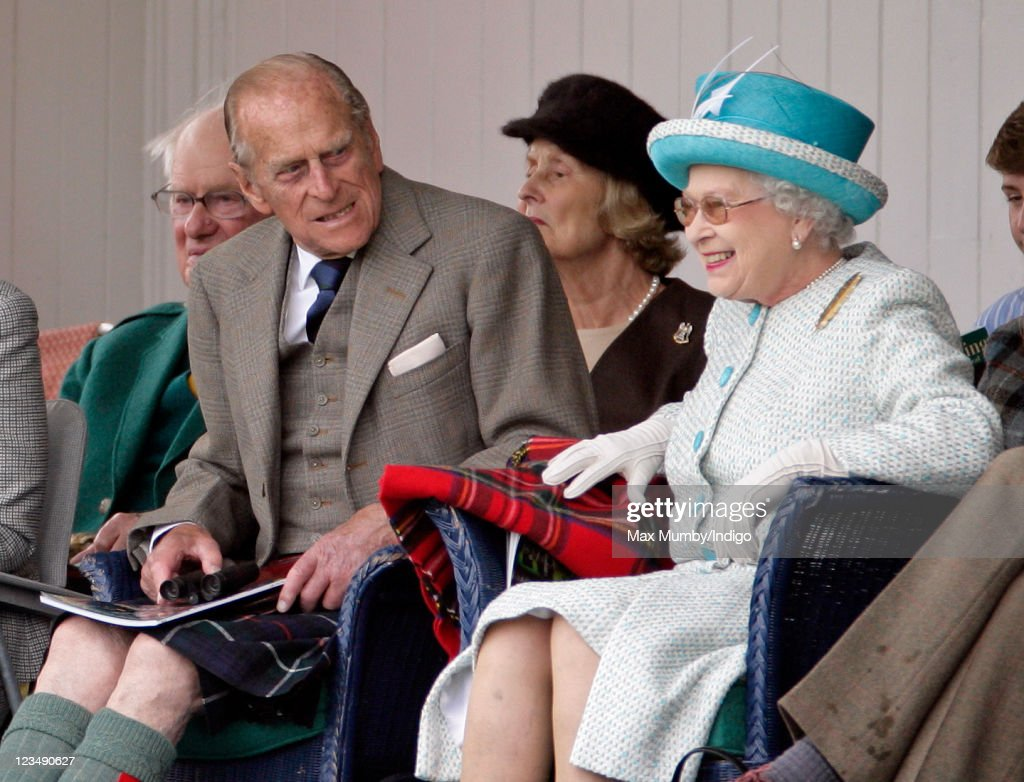 Prince Philip, Duke of Edinburgh and Queen Elizabeth II attend the annual Braemar Gathering and Highland Games at The Princess Royal and Duke of Fife Memorial Park on September 3, 2011 in Braemar, Scotland.