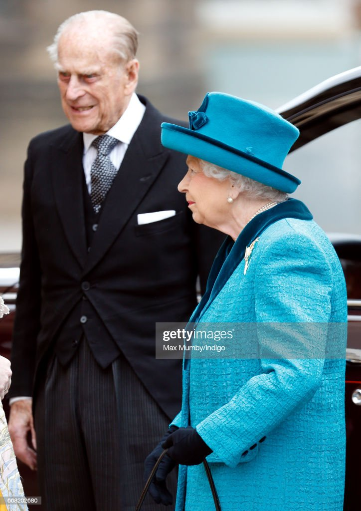 Prince Philip, Duke of Edinburgh and Queen Elizabeth II attend the traditional Royal Maundy service at Leicester Cathedral on April 13, 2017 in Leicester, England. During the service The Queen distributed ceremonial Maundy Money to 91 men and 91 women from the local community.