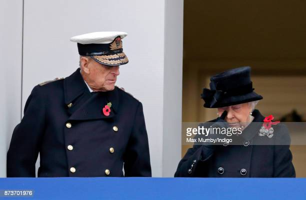 Prince Philip Duke of Edinburgh and Queen Elizabeth II attend the annual Remembrance Sunday Service at The Cenotaph on November 12 2017 in London...