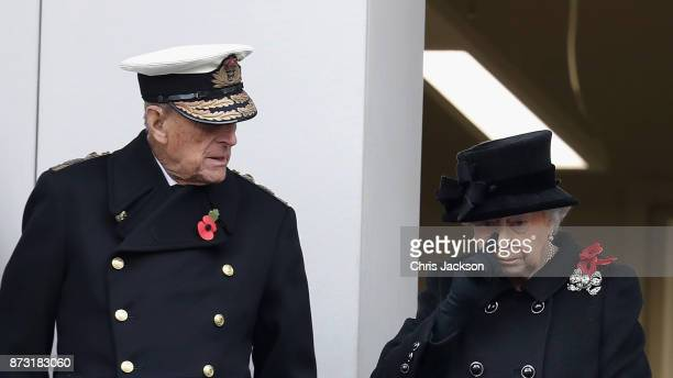 Prince Philip Duke of Edinburgh and Queen Elizabeth II during the annual Remembrance Sunday memorial on November 12 2017 in London England The Prince...