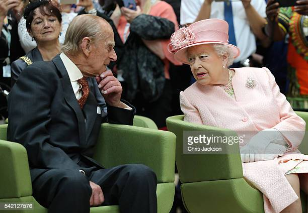 Prince Philip Duke of Edinburgh and Queen Elizabeth II visit Alder Hey Children's Hospital during a visit to Liverpool on June 22 2016 in Liverpool...