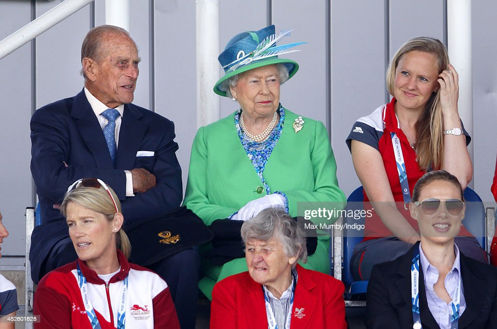 Prince Philip, Duke of Edinburgh and Queen Elizabeth II watch the England vs Wales women's hockey match at the Glasgow National Hockey Centre during day one of 20th Commonwealth Games on July 24, 2014 in Glasgow, Scotland.