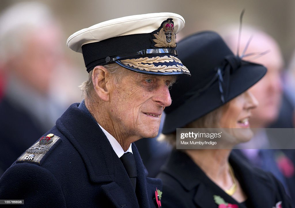 Prince Philip, Duke of Edinburgh and Sara Jones (wife of the late Colonel H Jones) attend the opening of The Field of Remembrance at Westminster Abbey on November 08, 2012 in London, England.