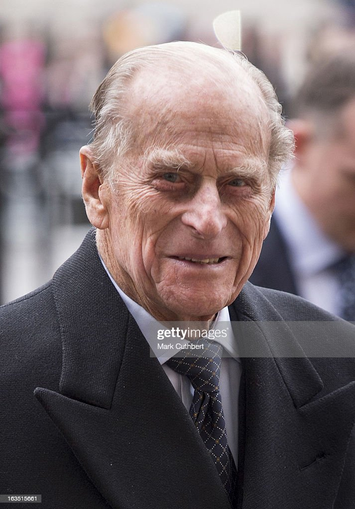 Prince Philip, Duke of Edinburgh arrives at The Commonwealth Day Observance at Westminster Abbey on March 11, 2013 in London, England.
