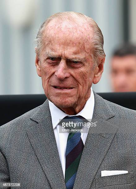 Prince Philip Duke of Edinburgh arrives at Tweedbank Station on September 9 2015 in Tweedbank Scotland Today Her Majesty Queen Elizabeth II becomes...