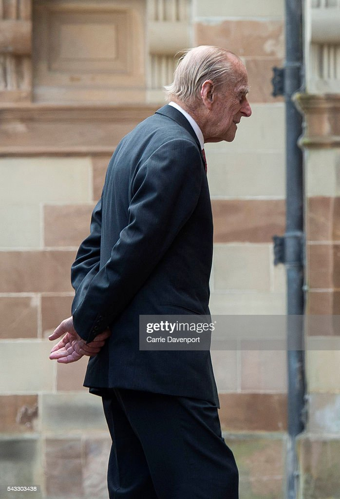 <a gi-track='captionPersonalityLinkClicked' href=/galleries/search?phrase=Prince+Philip&family=editorial&specificpeople=92394 ng-click='$event.stopPropagation()'>Prince Philip</a>, Duke of Edinburgh arrives for a visit to Hillsborough Castle on June 27, 2016 in Belfast, Northern Ireland.
