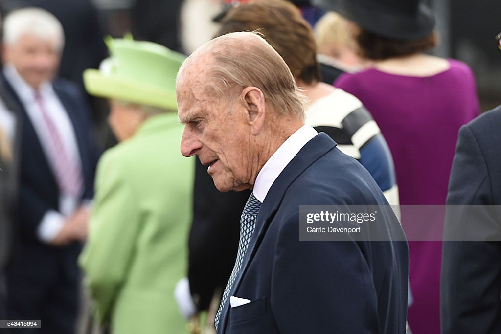 <a gi-track='captionPersonalityLinkClicked' href=/galleries/search?phrase=Prince+Philip&family=editorial&specificpeople=92394 ng-click='$event.stopPropagation()'>Prince Philip</a>, Duke Of Edinburgh arrives on a steam train to open the new Bellarena Station village on June 28, 2016 in Bellarena, Northern Ireland.