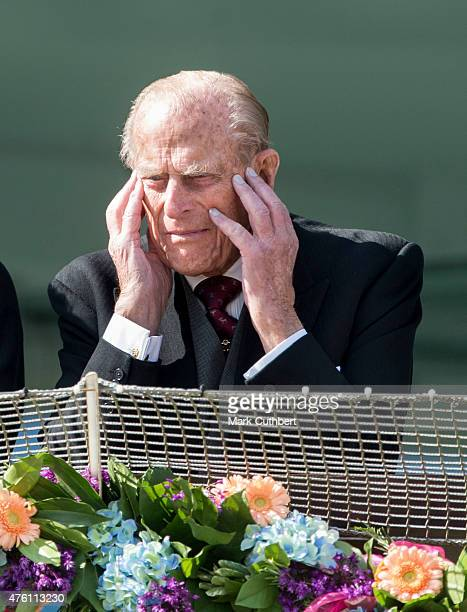 Prince Philip Duke of Edinburgh as string quartet 'Escala' play on Derby Day at Epsom Racecourse on June 6 2015 in Epsom England