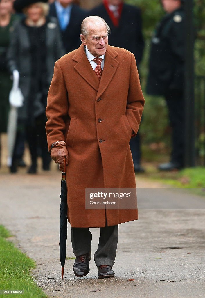 Prince Philip, Duke of Edinburgh attends a Christmas Day church service at Sandringham on December 25, 2015 in King's Lynn, England.