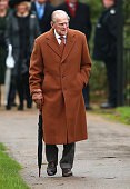 Prince Philip Duke of Edinburgh attends a Christmas Day church service at Sandringham on December 25 2015 in King's Lynn England