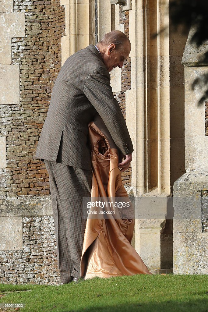 Prince Philip, Duke of Edinburgh attends a Christmas Day church service at Sandringham on December 25, 2016 in King's Lynn, England.