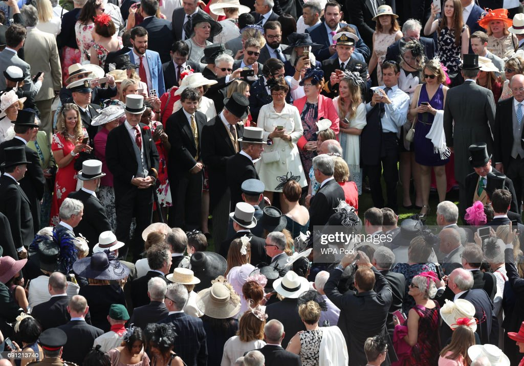 Prince Philip, Duke of Edinburgh attends a garden party at Buckingham Palace on June 1, 2017in London, England.