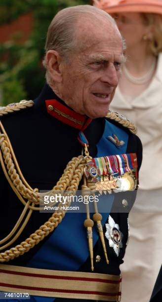 Prince Philip Duke of Edinburgh attends a memorial service commemorating 25 years since the Falklands conflict at the Falkland Islands Memorial...