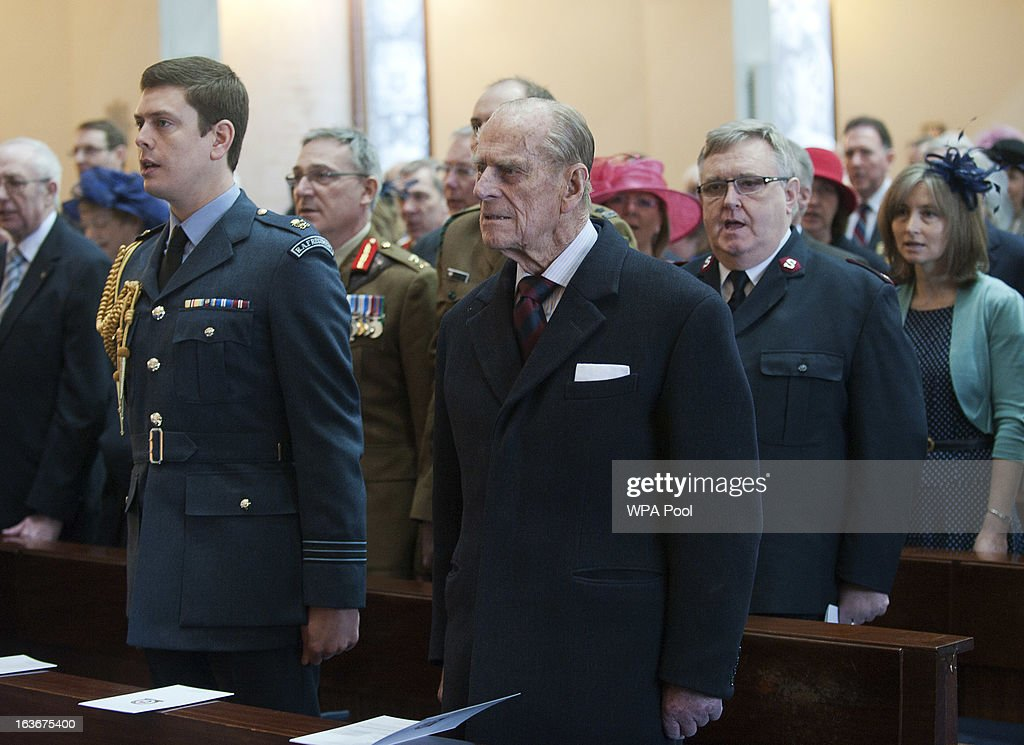 Prince Philip, Duke of Edinburgh, attends a service for the 175th anniversary of the Soldier's and Airmen's Scripture Association, at the Guards Chapel on March 14, 2013 in London, England.