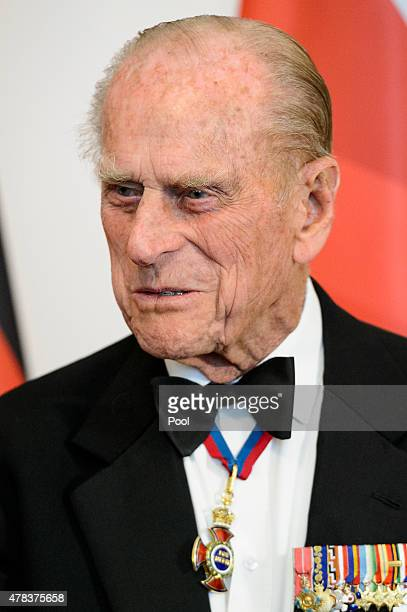 Prince Philip Duke of Edinburgh attends a State Banquet on day 2 of a four day State Visit on June 24 2015 in Berlin Germany