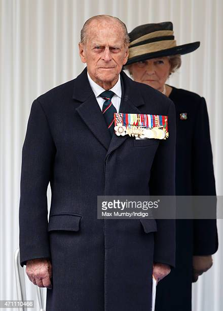 Prince Philip Duke of Edinburgh attends a wreathlaying ceremony at the Cenotaph to commemorate ANZAC Day and the Centenary of the Gallipoli Campaign...