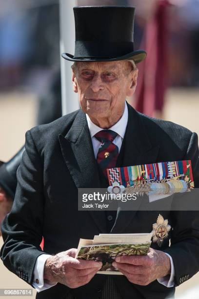 Prince Philip Duke of Edinburgh attends the annual Trooping The Colour parade at Horse Guards Parade on June 17 2017 in London England The annual...