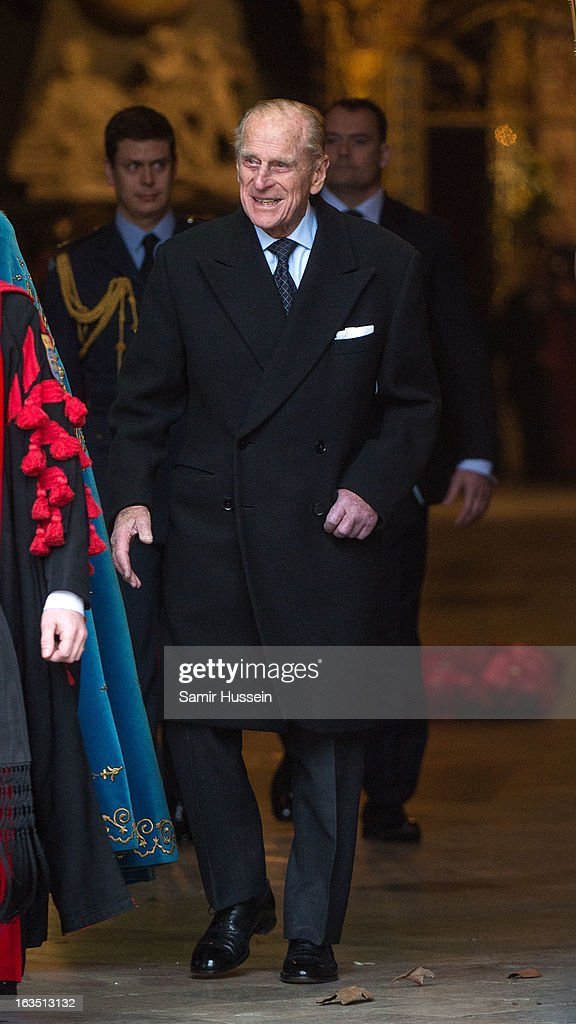 Prince Philip, Duke of Edinburgh attends the Commonwealth Day Observance At Westminster Abbey on March 11, 2013 in London, England.