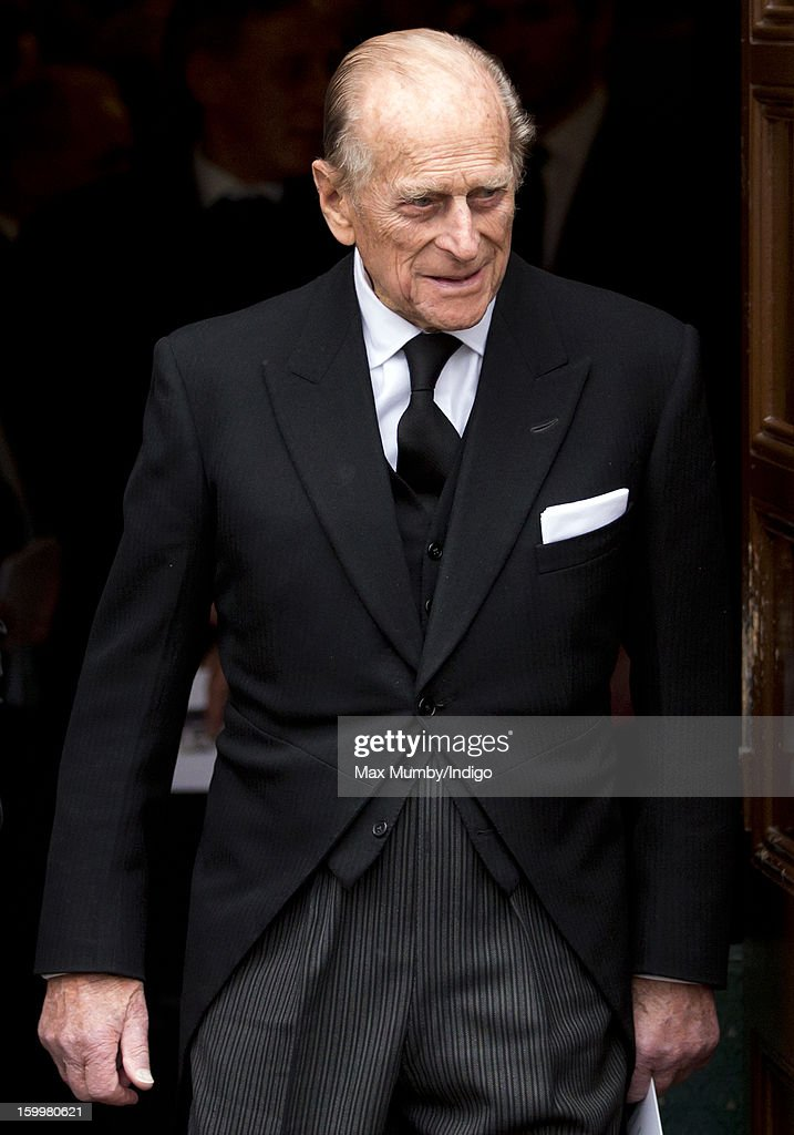 <a gi-track='captionPersonalityLinkClicked' href=/galleries/search?phrase=Prince+Philip&family=editorial&specificpeople=92394 ng-click='$event.stopPropagation()'>Prince Philip</a>, Duke of Edinburgh attends the funeral of his niece Princess Margarita of Baden at the Serbian Orthodox Church of Saint Sava on January 24, 2013 in London, England.