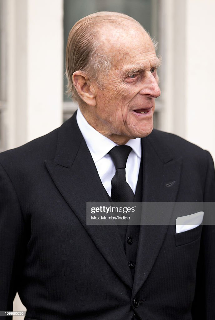 Prince Philip, Duke of Edinburgh attends the funeral of his niece Princess Margarita of Baden at the Serbian Orthodox Church of Saint Sava on January 24, 2013 in London, England.