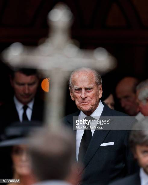 Prince Philip Duke of Edinburgh attends the funeral of Patricia Knatchbull Countess Mountbatten of Burma at St Paul's Church Knightsbridge on June 27...