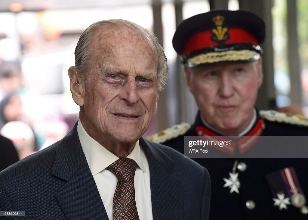 Prince Philip, Duke of Edinburgh (L) attends the opening of the Cardiff University Brain Research Imaging Centre on June 7, 2016 in Cardiff, Wales.