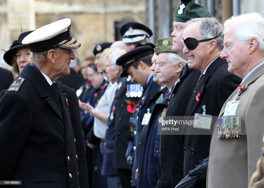 Prince Philip, Duke of Edinburgh, attends the opening of the Royal British Legion's Field of Remembrance at Westminster Abbey on November 8, 2012 in London, England. Hundreds of small crosses bearing a poppy have been planted in a Field of Remembrance in a tribute to British servicemen and women who have lost their lives in conflict.