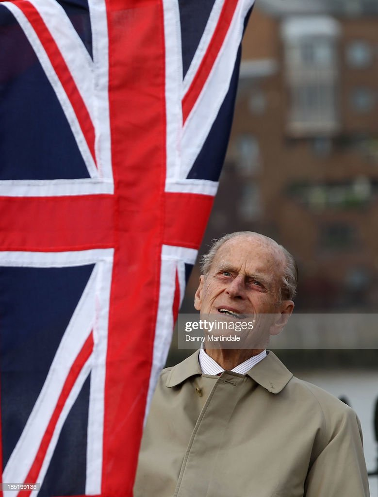Prince Philip, Duke of Edinburgh attends the renaming ceremony for 'The City of Adelaide' Clipper Ship at the Old Royal Naval College on October 18, 2013 in Greenwich, England.
