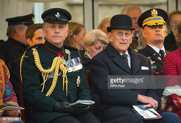 Prince Philip Duke of Edinburgh attends the Rifles' Sounding Retreat on Horse Guards Parade where he will take the salute as the Massed Bands and...