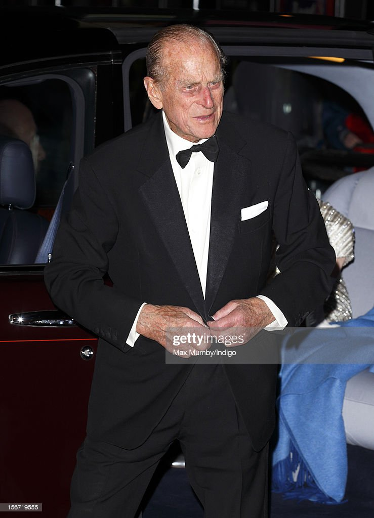Prince Philip, Duke of Edinburgh attends the Royal Variety Performance, in the 100th anniversary year, at the Royal Albert Hall on November 19, 2012 in London, England.