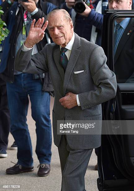Prince Philip Duke of Edinburgh attends the Rugby World Cup Final match between New Zealand and Australia during the Rugby World Cup 2015 at...
