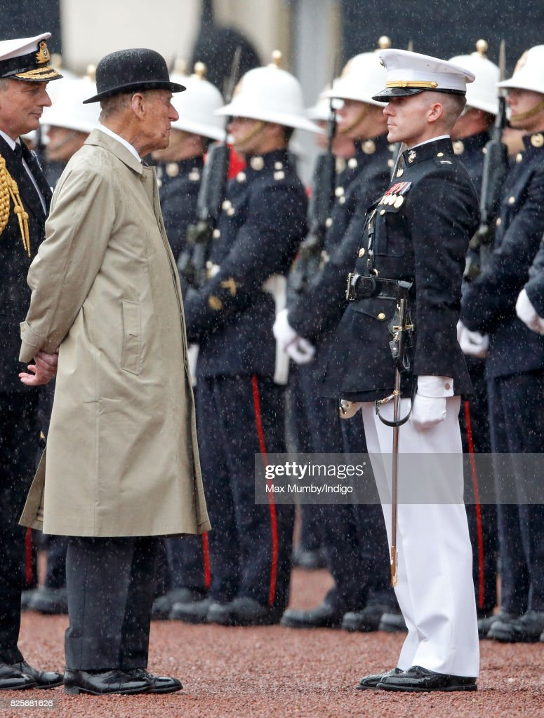 Prince Philip, Duke of Edinburgh (in his role as Captain General, Royal Marines) attends the The Captain General's Parade to mark the finale of the 1664 Global Challenge at Buckingham Palace on August 2, 2017 in London, England. The Captain General's Parade is Prince Philip's last official engagement before retiring from carrying out solo Royal engagements.