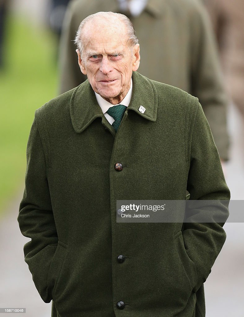 Prince Philip, Duke of Edinburgh attends the traditional Christmas Day church service at St Mary Magdalene Church, Sandringham on December 25, 2012 near King's Lynn, England.