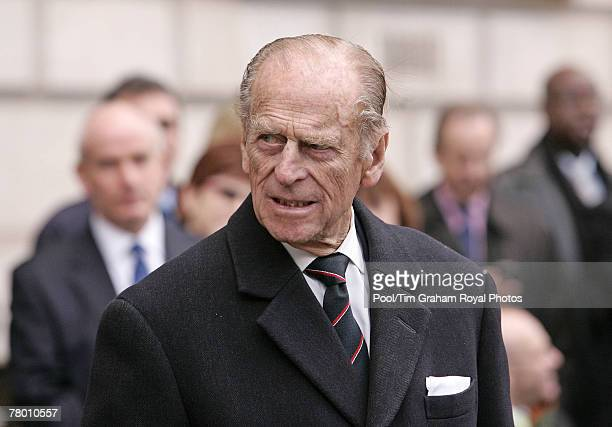 Prince Philip Duke of Edinburgh attends the unveiling of the Jubilee Walkway panel on Parliament Square and meets wellwishers during a walkabout to...