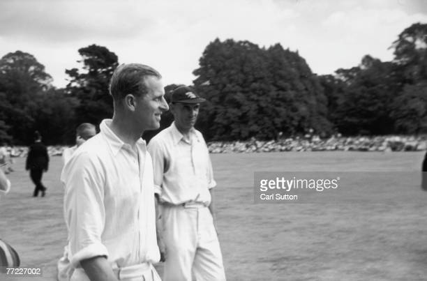 Prince Philip Duke of Edinburgh captains a cricket team in a charity match at Arundel Castle Sussex August 1953 Proceeds will go to the National...