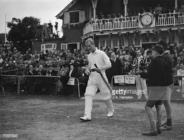 Prince Philip Duke of Edinburgh captains a team of England and county cricketers called the Duke Of Edinburgh XI against Hampshire in Bournemouth...