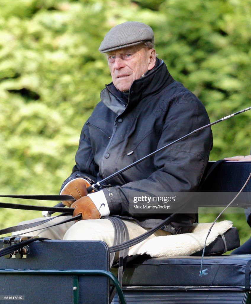 Prince Philip, Duke of Edinburgh carriage driving on day 1 of the Royal Windsor Horse Show in Home Park on May 10, 2017 in Windsor, England.