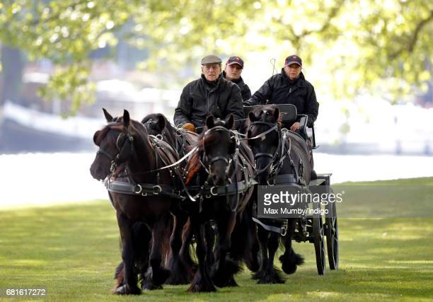 Prince Philip Duke of Edinburgh carriage driving on day 1 of the Royal Windsor Horse Show in Home Park on May 10 2017 in Windsor England