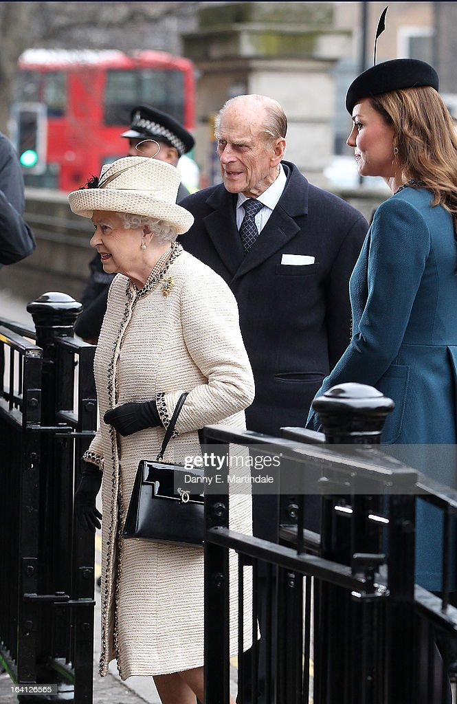 Prince Philip, Duke of Edinburgh; Catherine, Duchess of Cambridge and Queen Elizabeth ll makes an official visit to Baker Street Underground Station on March 20, 2013 in London, England.